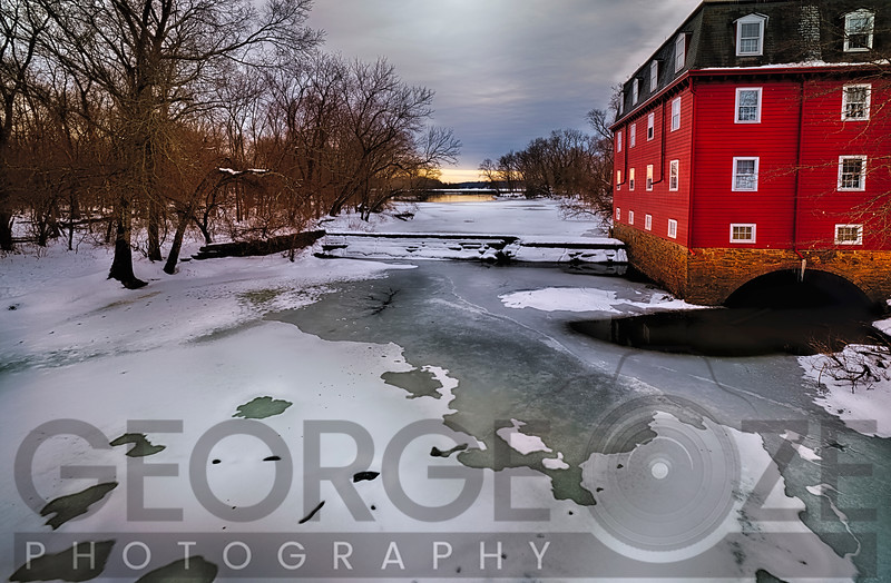 Winter Landscape with the Kingston Gristmill at the Lake Carnegie Dam, New Jersey