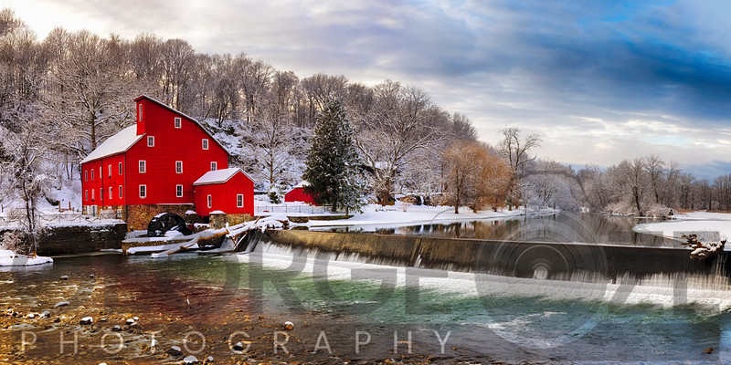Red Grist Mill in a Winter Landscape, Clinton, New Jersey