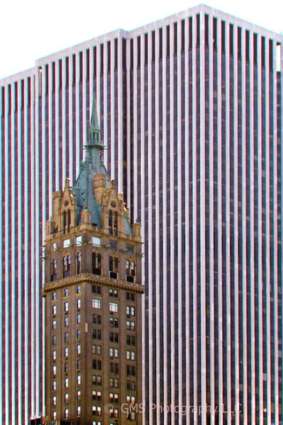 View of old architecture with new architecture at south east corner of Central Park in New York City, New York