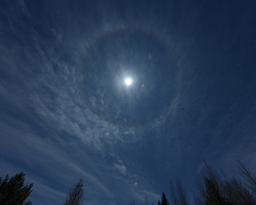 Moon and 22 Degree Halo, Sun Valley, Idaho