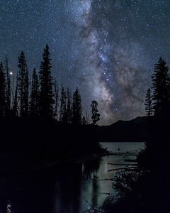 Milky Way, Mars and Saturn over Alturas Lake Outlet, Idaho