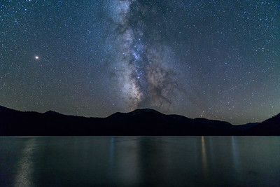 Milky Way, Mars, Saturn, and Jupiter over Alturas Lake, Idaho