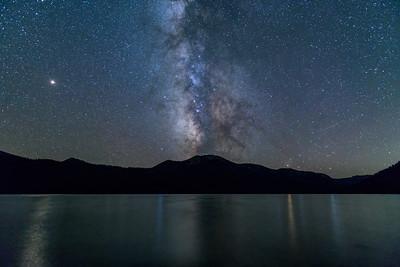 Milky Way, Mars, Saturn, and Jupiter over Alturas Lake, Idaho