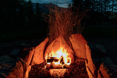 Summer Campfire in the Mountains