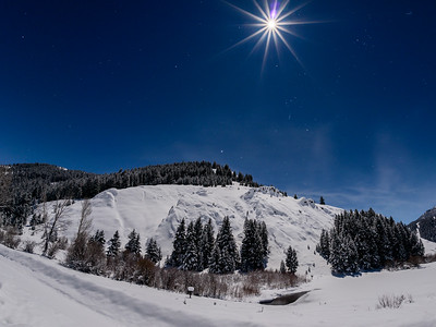 Christmas Full Moon Over Sun Valley, Idaho 2015