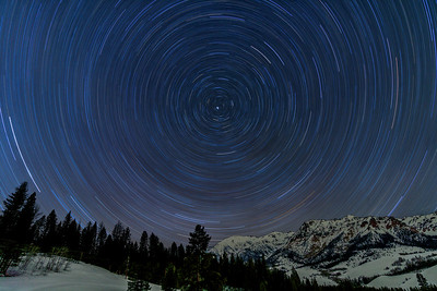 Winter Star Trails Over Boulder Mountains, Idaho
