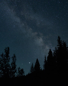 Milky Way, Saturn and Jupiter over Idaho
