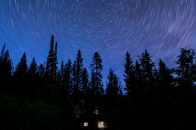 Star Trails Over Cabin, Boulder Mountains, Idaho