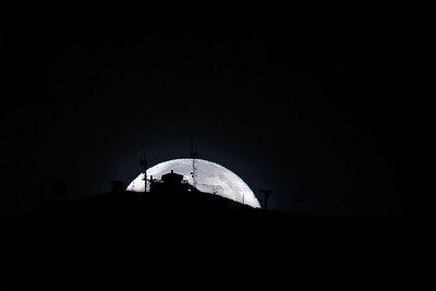 Supermoon Sets Behind Sun Valley's Bald Mountain