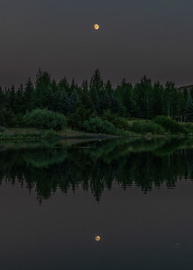 Moon Reflection on Sun Valley Lake, Idaho