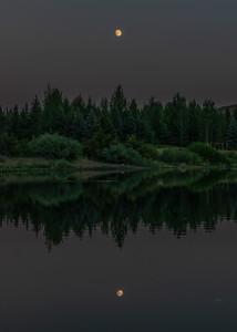 Moon Reflection on Sun Valley Lake, Idaho
