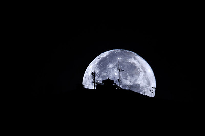 Supermoon Sets Behind Bald Mountain, Sun Valley, Idaho