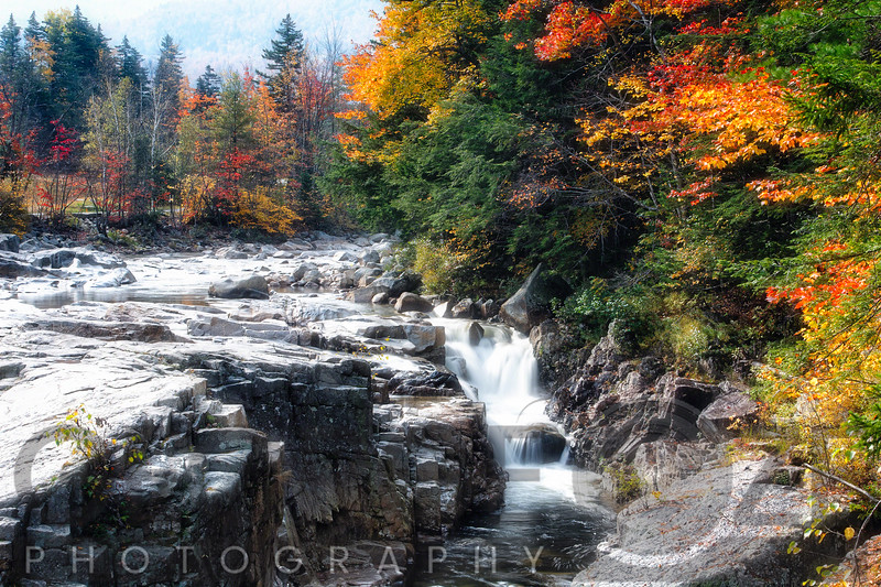 Autumn Scenic View of the Rocky Creek Gorge, White Mountains National Forest, New Hampshire