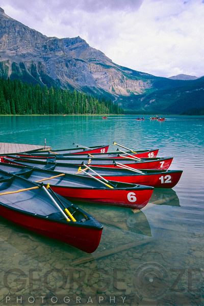 Canoes  at a Dock, Emerald Lake, British Columbia, Canada