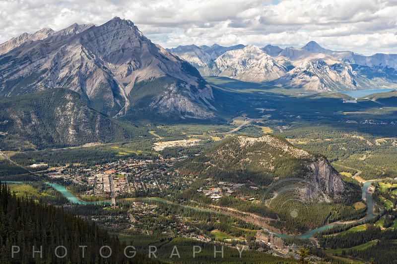 Aerial View of Banff with the Bow River, Alberta, Canada