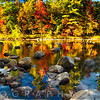Colorful Panorma of Fall Trees Along a River, New Hampshire