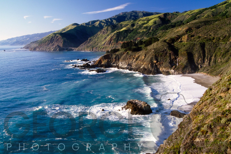 High Angle View of a Rugged Coast, Big Sur at Big Creek, California