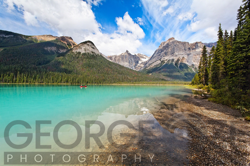 Low Angle View of Emerald Lake, British Columbia, Canada