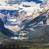 High Angle View of Lake Louise with the Victoria Glacier and Hotel, Alberta, Canada