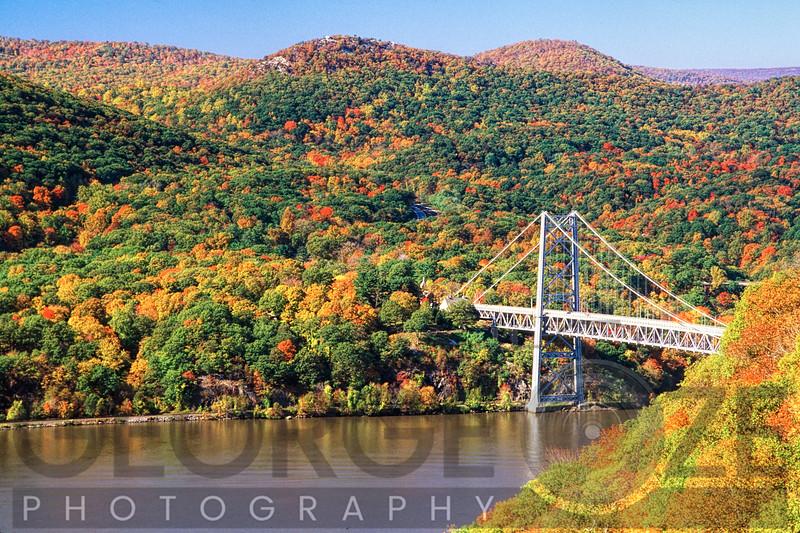 View of the Bear Mountain Bridge with Autumn Foliage, New York