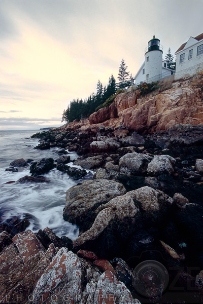 Low Angle Vertical View of the  Bass Harbor Head Lighthouse, Mt Desert Island, Maine