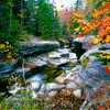 Granite rocks of Ammonoosuc River in Fall, White Mountains, New Hampshire