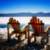 Two Adirondack Chairs on a Deck in Winter, Lake George, New York
