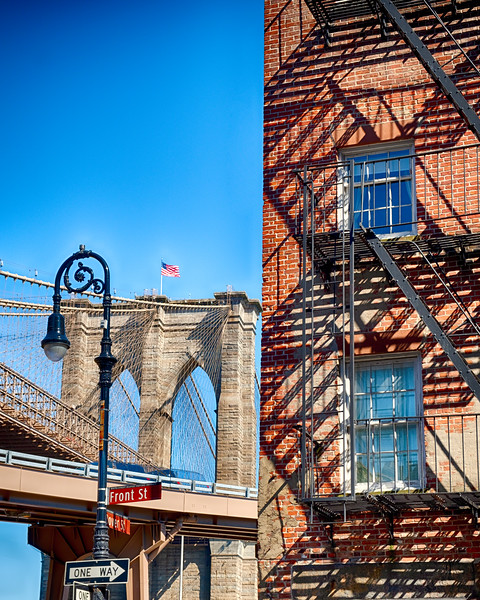 Brooklyn Bridge Stone Tower View and a Typical House with Fire Esacpes, Manhattan, New York
