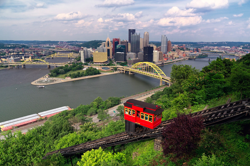 Red Railway Car on the Duquesne Incline, Pittsburgh, Pennsylvania