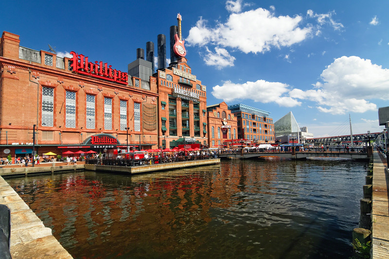 Low Angle View of the Revived Industrial Buildings in Baltimore Inner Harbor, Maryland