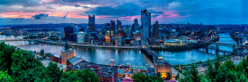 Skyline Panorama of Pittsburgh viewed from Mount Washington