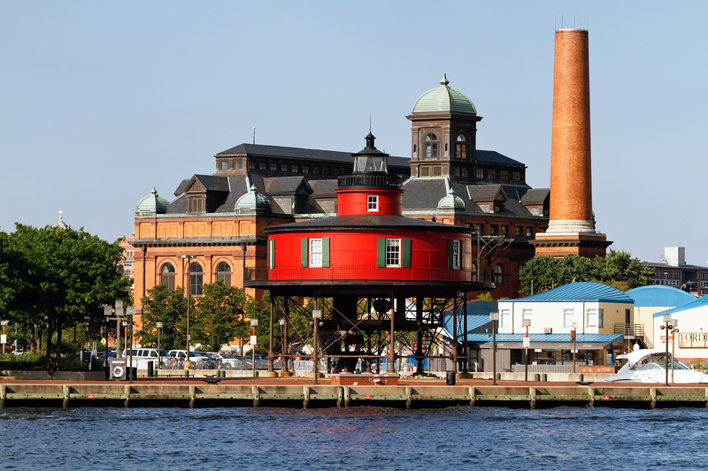 View of the Seven Foot Knoll Lighthouse , Inner Harbor, Baltimore, Maryland
