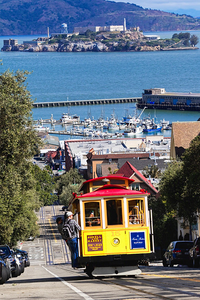 Classic Cable Car Climbing a Hill, San Francisco, California