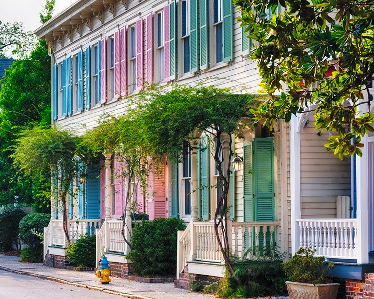 Colorful Historic Row Houses, Savannah, Georgia