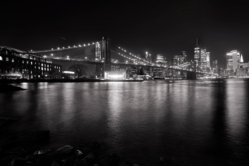 Brooklyn Bridge with Lower Manhattan at Night, Brooklyn New York City