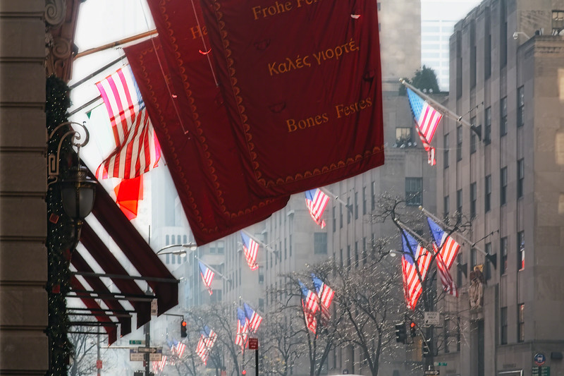 Flags of Fifth Avenue in Morning Light, New York City, New York