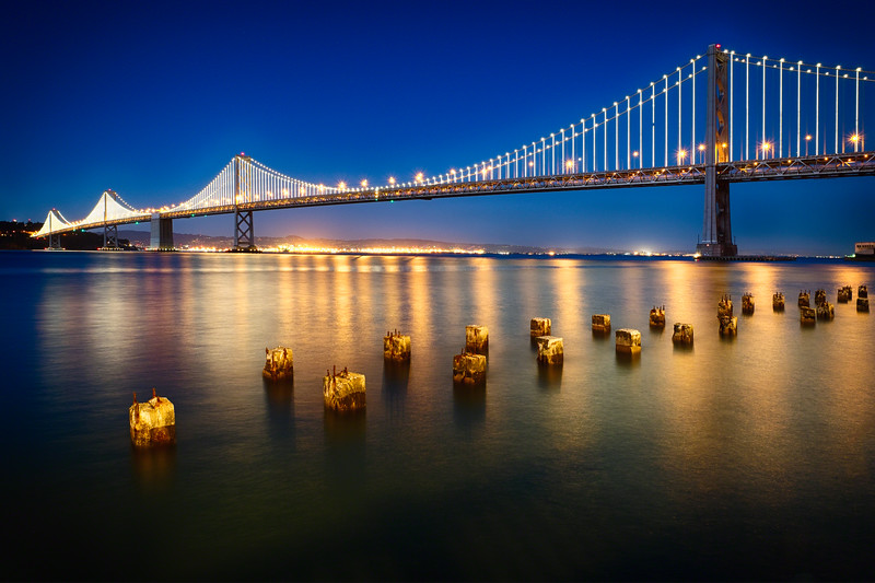 A Suspension Bridge Lit Up at Night, Bay Bridge Western Section, San Francisco, California