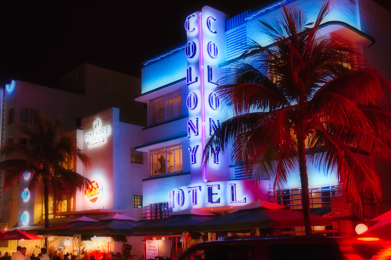 Colony Hotel Lit By Neon Light, Ocean Boulevard, South Beach Miami, Florida