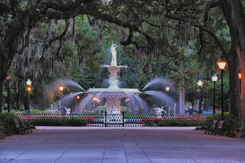 View of the Forsyth Park Fountain Through Spanish Moss Draped Oak Trees at Dusk, Savannah, Georgia