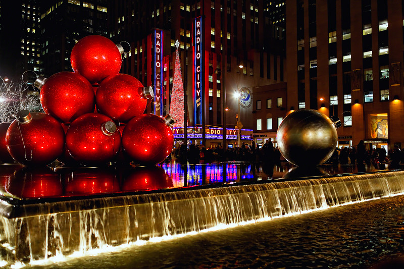 Radio City Music Hall Night View with Christmas Decorations, New York City, New York