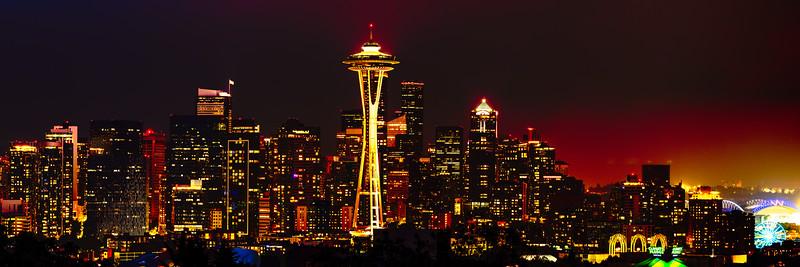 Seattle Skyline Panorama at Night