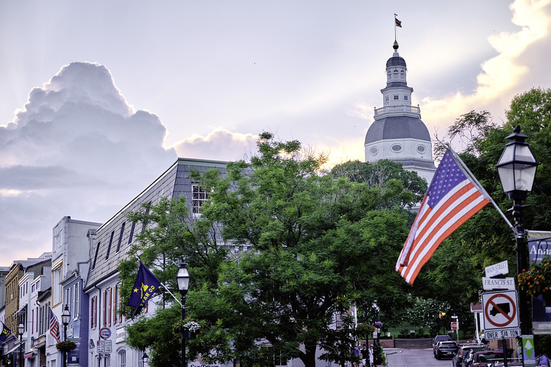 Annapolis Street View with the State Capitol,, Maryland