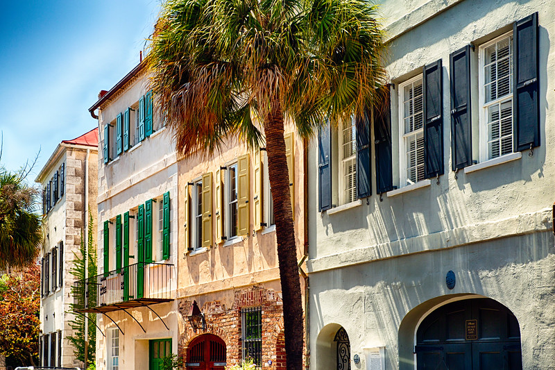 View of Colorful House Exteriors on Church Street, Charleston, South Carolina, USA