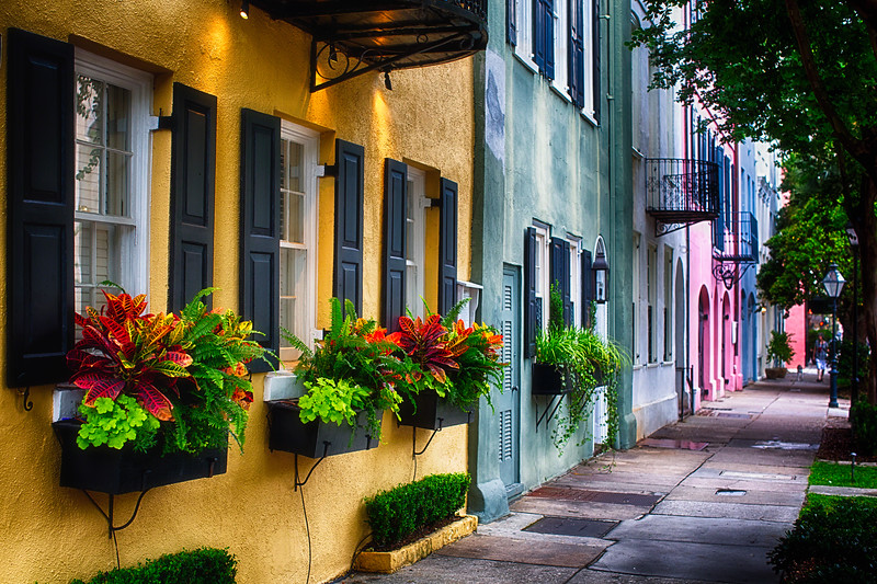 Rainbow Row, Row of Colorful Historic Houses,East Bay Street, Charleston, South Carolina