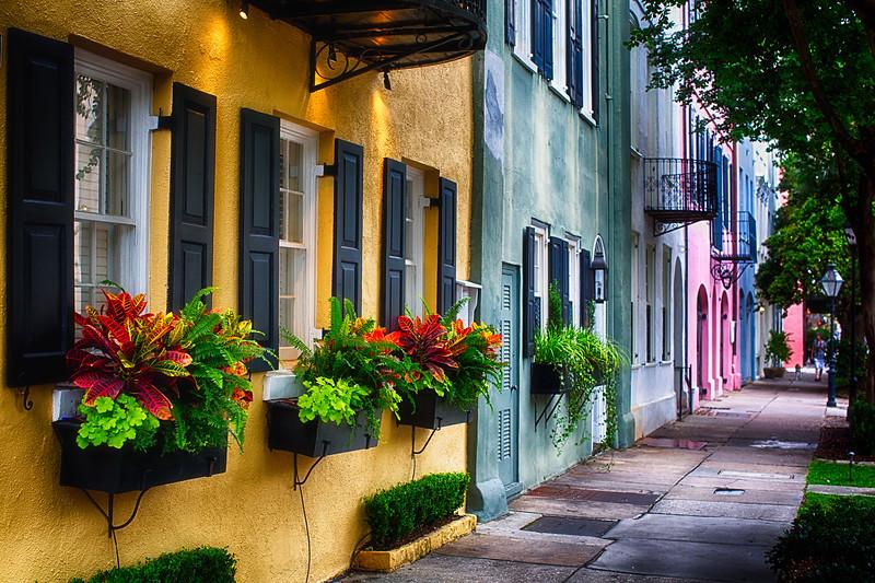 Rainbow Row, Row of Colorful Historic Houses,East Bay Street, Charleston, South Carolina