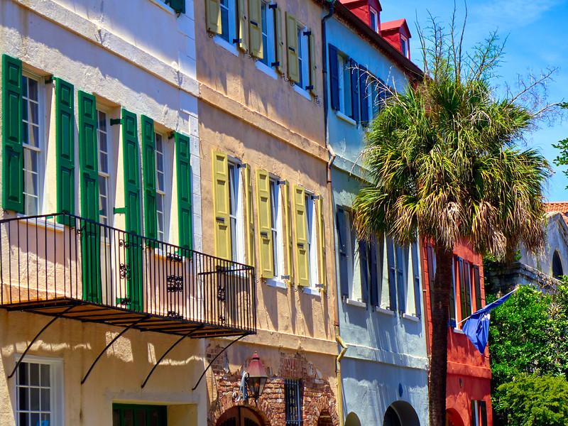 Colorful House Exteriors with a Flag, Charleston, South Carolina, USA