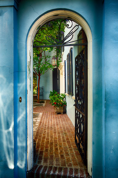 Open Wrought Iron Door to a Historic House, Charleston, South Carolina