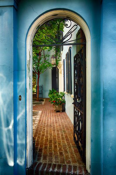Open Wrought Iron Door to a Historic House, Charleston, South Carolina