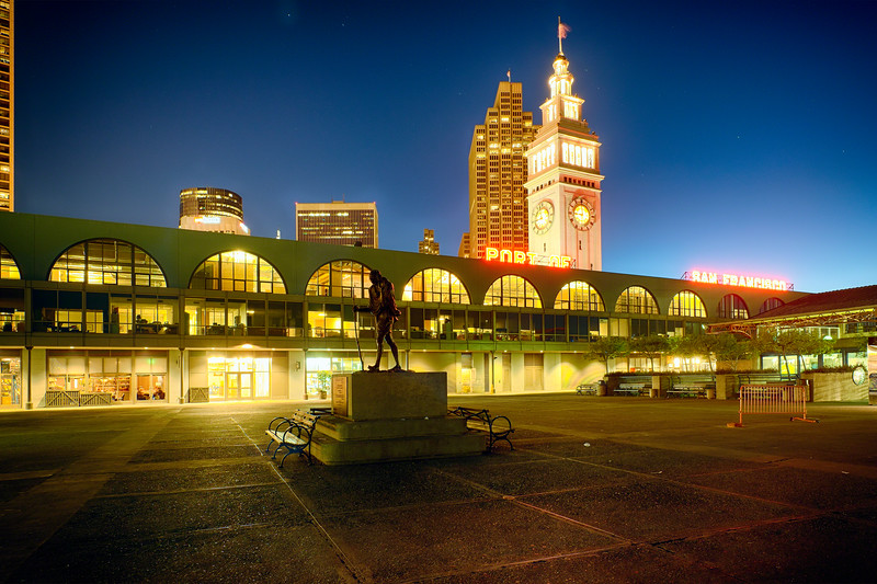 Low Angle View of the Ferry Building Clock Tower and Marketplace Building at Night, San Francisco, California