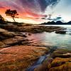 "Coles Bay Sunrise looking toward ""The Hazards"""